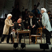 """Jennifer Zetlan (soprano) as """"Mozart"""", Kim Josephson (baritone) as """"Charles Rosen"""", Ashraf Sewailam (bass-baritone) as """"Beethoven"""" and Dominic Armstrong (tenor) as """"Haydn"""" in the world premiere of Steven Stucky and Jeremy Denk's The Classical Style: An Opera (of Sorts) at the 68th Ojai Music Festival at Libbey Bowl on June 13, 2014 in Ojai, California."""