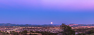 The Full &ldquo;Snow&rdquo; Moon of February 3, 2015 rising over Silver City, New Mexico in the blue of Earth&rsquo;s shadow and the pink of the Belt of Venus above. Jupiter is barely visible to the left of the Moon. I shot this from the Boston Hill trailhead at Market Street and Highway 180 west of the city. The coppery Moon rises to the left of the Santa Rita Coppermine, at the right of the image.<br />