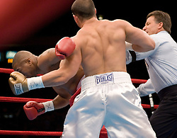 June 10, 2006 - New York, NY - Notre Dame defensive back, Tommy Zbikowski knocks out Robert Bell in the first round at Madison Square Garden.  It was Zbikowski's pro debut.