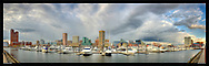 Panoramic photograph of the Inner Harbor, Baltimore, Maryland. Print Size (in inches): 15x5; 24x7.5; 36x11.5; 48x15; 60x19; 72x23