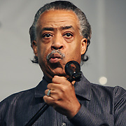 """Reverend Al Sharpton speaks at an Anti-Gun Violence Rally/Press Conference and """"Peace Walk"""" to the site where 17-year-old Corey Squire was killed from gang violence.  Event took place on May 11 afternoon at the National Action Network headquarters on 145th St."""