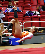 Columbus East senior Molly Boggs performs the floor exercise during the IHSAA gymnastics state finals meet at Worthen Arena in Muncie, Indiana. (Michael Hickey | For The Republic)