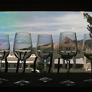 Yellowstone National Park wine glasses grace a shelf in one of the park's gift shops in Mammoth Springs.  One of the most popular destinations in Yellowstone National Park, Mammoth Hot Springs is located near the northern entrance to the park in Wyoming, U.S.A.