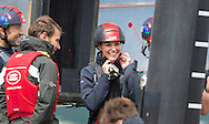 The Duchess of Cambridge aboard an America's Cup catamaran during a visit to Sir Ben Ainslie's Land Rover BAR base in Portsmouth, Hampshire. <br /> Picture date Friday 20th May, 2016.<br /> Picture by Christopher Ison. Contact +447544 044177 chris@christopherison.com