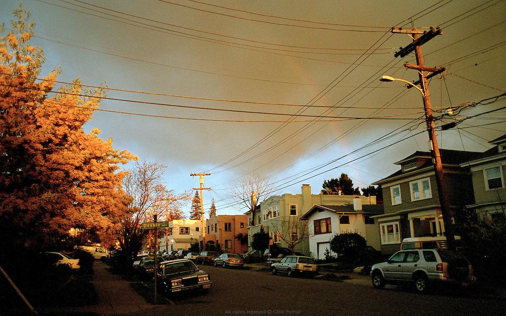 Deakin street under a rainbow, Oakland