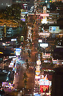 Beautiful downtown Las Vegas, NV, Sin City, glows at night, viewed from the top of the Stratosphere Tower. The famous 'strip' of Casinos is seen.