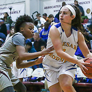 Caesar Rodney Victoria Sebastian (2) attempts to pass the ball during a Diamond State Classic game Wed. Dec. 28, 2016 at Saint Elizabeth's High School in Wilmington.