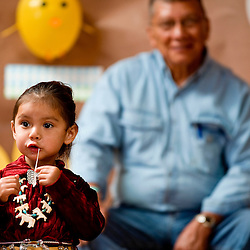 082809   Brian Leddy.Leilani Charlie plays with her gum during Friday's Baby Contest at the annual Ramah Navajo Fair in Pinehill. The fair continues through this weekend with rodeos, fireworks, dancing and a variety of other activities.
