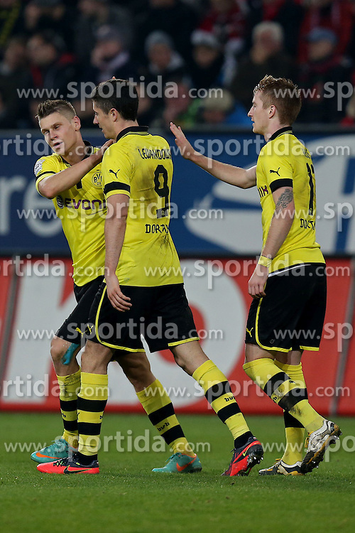 10.11.2012, SGL Arena, Augsburg, GER, 1. FBL, FC Augsburg vs Borussia Dortmund, 11. Runde, im Bild  Torjubel bei Lukasz Pisczek (# 26, Dortmund), Torschuetze Robert Lewandowski (# 9, Dortmund) und Marco Reus (# 11, Dortmund) v.l. during the German Bundesliga 11th round match between FC Augsburg and Borussia Dortmund at the SGL Arena, Augsburg, Germany on 2012/11/1