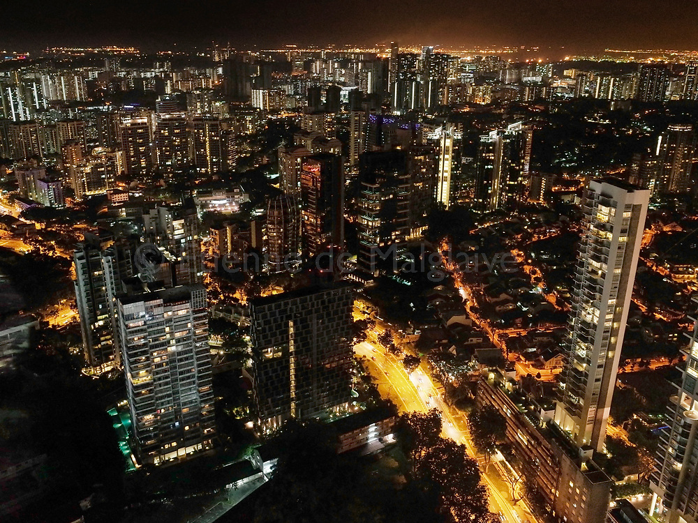 Singapore night view from a 55th floor, 30 April 2017.