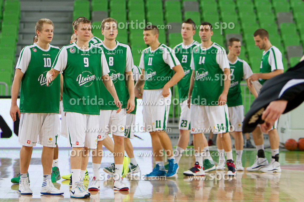 Team KK Union Olimpija during basketball match between KK Union Olimpija (SLO) and BC Szolnoki Olaj (HUN) in 8th Round of ABA Leaugue 2012/13 on November 11, 2012 in Arena Stozice, Ljubljana, Slovenia. (Photo By Urban Urbanc / Sportida)