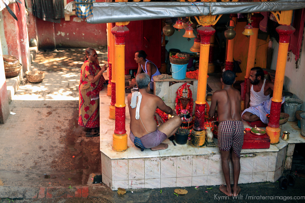 Asia, India, Calcutta. Shrine by the River Hooghly in Calcutta.