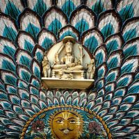 Asia, India, Jaipur. Peacock architectural detail at Jaipur Palace.