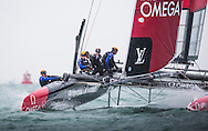 Image licensed to Lloyd Images. Free for editorial use. <br /> Pictures of Official Practice Day 24.07.15 - Emirates Team New Zealand skippered by Glenn Ashby <br /> Credit: Lloyd Images