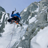 Climbing the Albonini-Gabaru on Mont Blanc du Tacul, Chamonix France