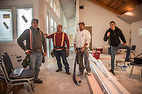 John Bowman Construction Company workers Jorge, Jose, Martin and Junior work on a new home at 1706 Myrtle Street in Calistoga