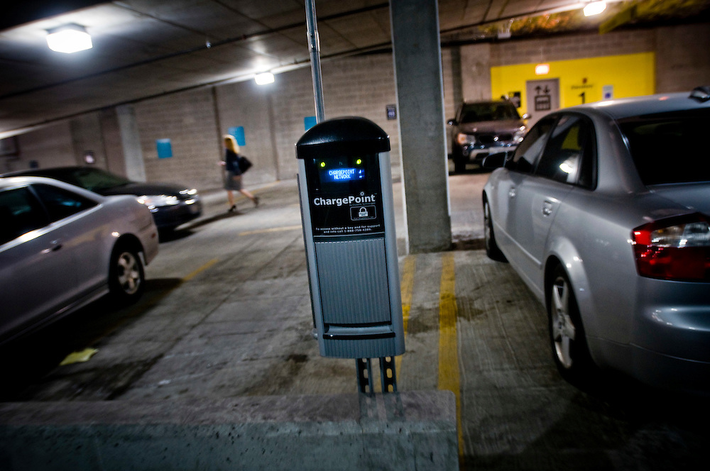 Green Chicago - Electrical car charge point in a Chicago parking garage<br /> <br /> Photographer: Chris Maluszynski /MOMENT