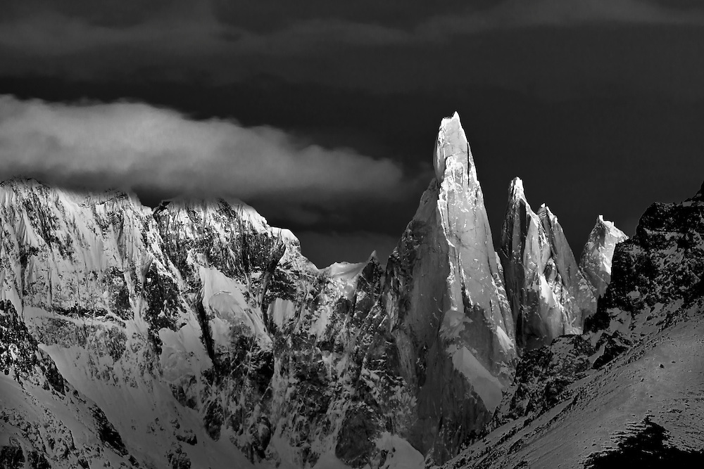 Sunrise light on Cerro Torre in the Southern Andes, Patagonia, Argentina, South America, Black and White