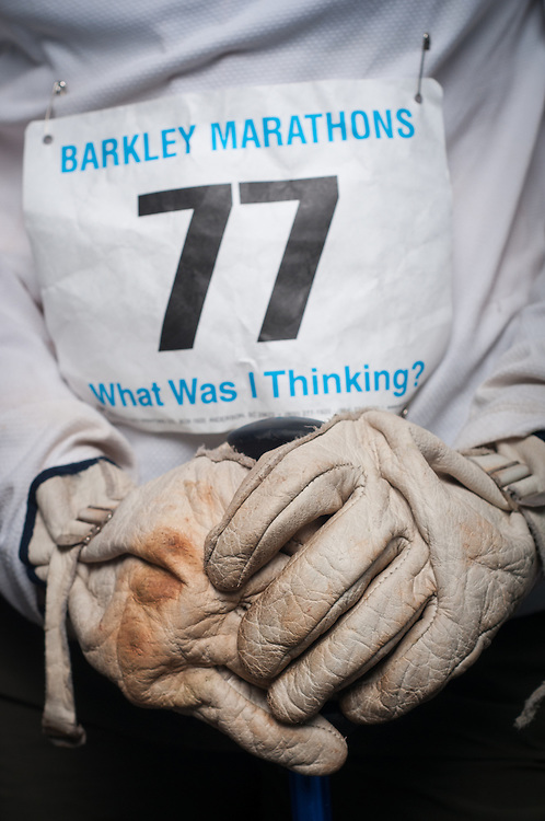 Psyche Wimberly has gloves at the ready for the Barkley Marathons in Frozen Head State Park in TN.