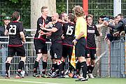 DEN HAAG - HBS - MSC , Sportpark Craeyenhout , Voetbal , Promotie/degradatie topklasse , seizoen 2014/2105 , 28-05-2015 , Spelers van HBS vieren de 2-0