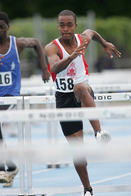 Gabriel Tesfaye competing in the sprint hurdles at the 2007 Ontario Legion Track and Field Championships. The event was held in Ottawa on July 20 and 21.