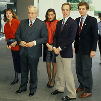 The royal Family of Monaco outside the State Department in Washington, DC in 1984. From left: Princess Caroline, Prince Ranier, Princess Stephanie, Prince Albert and Stefano Casiraghi, Caroline's husband.