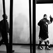 The Salem Stampede march out of the locker room and onto the court before their first game, a March exhibition in Woodburn. Photographed March 24, 2006. (Thomas Patterson / Statesman Journal)