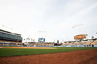 28 February 2010: Stadium overview during the USC Trojans Baseball team during the first annual Dodgertown Classic at Dodger Stadium at Chavez Ravine. A college baseball round robin tournament sponsored by the MLB Los Angeles Dodgers. 14,588 were in attendance to watch the UCLA Bruins defeat the USC Trojans 6-1 on a sunny afternoon in Southern California.