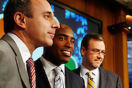 """Former New York Giants running back Tiki Barber speaks to members of the media with coo-host Matt Lauer(L) and NBC News President Steve Caqpus(R) as he is introduced as a news correspondent for NBC's """"The Today Show"""" in New York, February 13, 2007. Barber will also be a sports analysts for NBC's """"Football Night in America""""."""