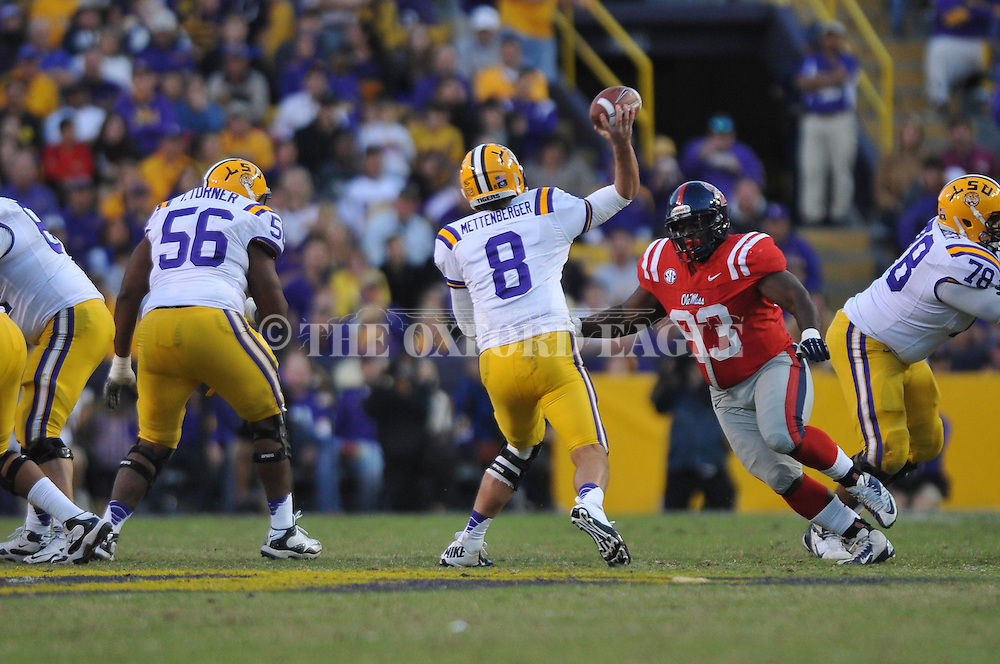 Ole Miss defensive tackle Uriah Grant (93) rushes LSU quarterback Zach Mettenberger (8) at Tiger Stadium in Baton Rouge, La. on Saturday, November 17, 2012. LSU won 41-35.....