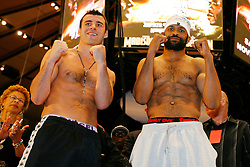 Nov 7, 2008; New York, NY, USA; Joe Calzaghe and Roy Jones Jr. pose at the weigh-in for their November 8, 2008 Light Heavyweight Championship fight. The two fighters will meet at Madison Square Garden in NY, NY.