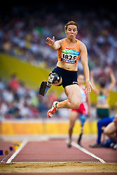 "SMITS Marije of The Netherlands competes in the women's F42 Long Jump during the Beijing 2008 Paralympic Games; National ""Bird's Nest"" Stadium, Beijing Olympic Green, China, 8th September 2008;"