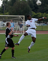 Ohio State forward Parnell Hegngi (18) goes up for a header as OSU takes on Binghamton in the first half of an NCAA men's college soccer game in Columbus, Ohio on Sunday, Sept. 11, 2011, at Jesse Owens Memorial Stadium.