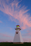 Cape Tryon Lighthouse at dusk; Prince Edward Island, Canada.