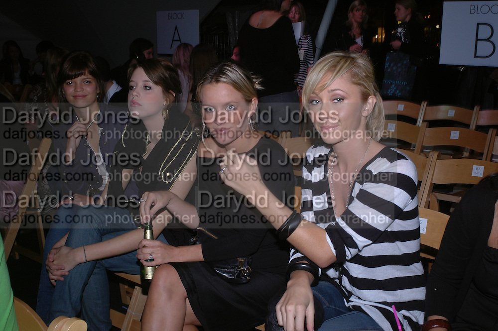 Pixie and Peaches Geldof, Davinia taylor and Jenny Frost, Topshop Fashion Show and party. Berkeley Sq. London. 19  September 2005. ONE TIME USE ONLY - DO NOT ARCHIVE © Copyright Photograph by Dafydd Jones 66 Stockwell Park Rd. London SW9 0DA Tel 020 7733 0108 www.dafjones.com