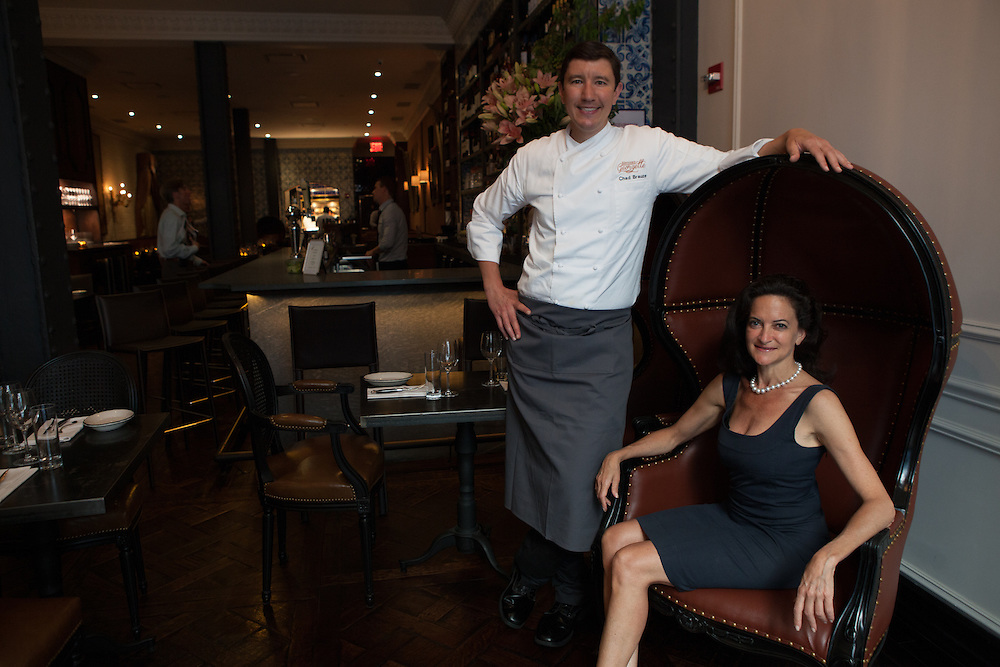 Executive Chef Chad Brauze, left, and Founder and General Manager Georgette Farkas at their new restaurant, Rotisserie Georgette in New York, NY on July 08, 2014. The restaurant has an open kitchen framed in beautiful blue-an-white Portuguese tile.