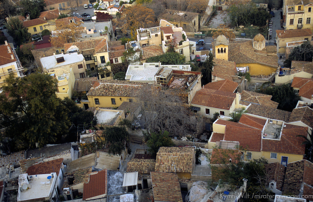 Europe, Greece, Athens. Scenic view of Athens from The Acropolis, looking down on the Plaka neighborhood.