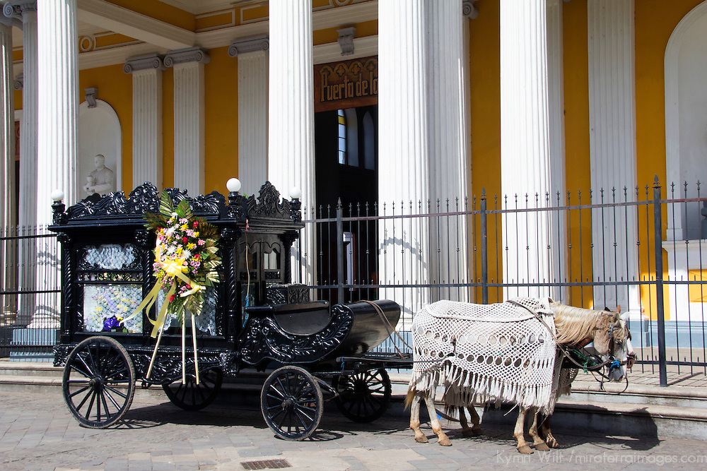 Central America, Nicaragua, Granada. Cathedral of Granada Funeral Carriage.