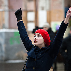 Kiev, January 18, 2012: four FEMEN activists occupied the balcony residence of the Ambassador of India in Ukraine. Activists unfurled a banner on the balcony &quot;We're not prostitutes,&quot; shouting &quot;Delhi, close their brothels,&quot; &quot;The Ukrainians are not prostitutes!&quot; and &quot;We demand an apology.&quot; The four activists were arrested and taken to the police station.<br />