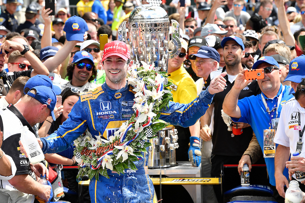 29 May, 2016, Indianapolis, Indiana, USA<br /> Alexander Rossi celebrates the win in victory lane with Borg-Warner wreath <br /> &copy;2016, Scott R LePage <br /> LAT Photo USA