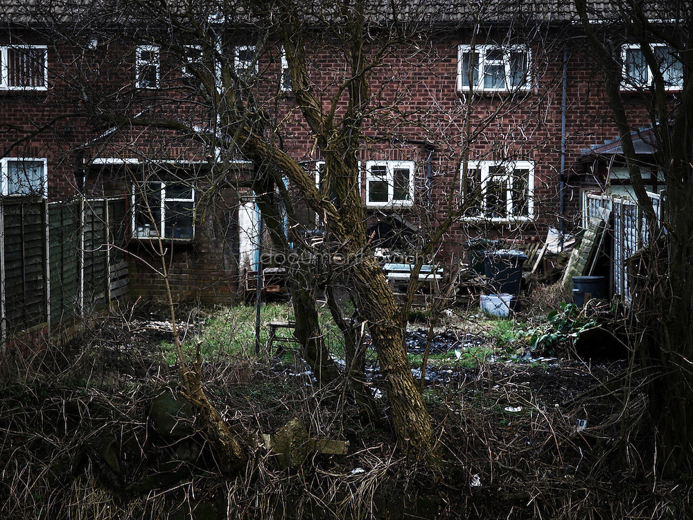 The back garden of a typical mining family home near Bentley' pit. Since the end of the strike jobs have been sparse in the area and many families have struggled to make a decent living.