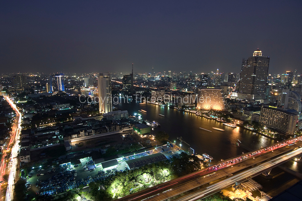 Chao Phraya River and the city at night. Bangkok.