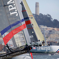 Action from the Fleet Race with the J.P. Morgan BAR team at the America's Cup World Series in San Francisco. Mandatory Credit: Dinno Kovic