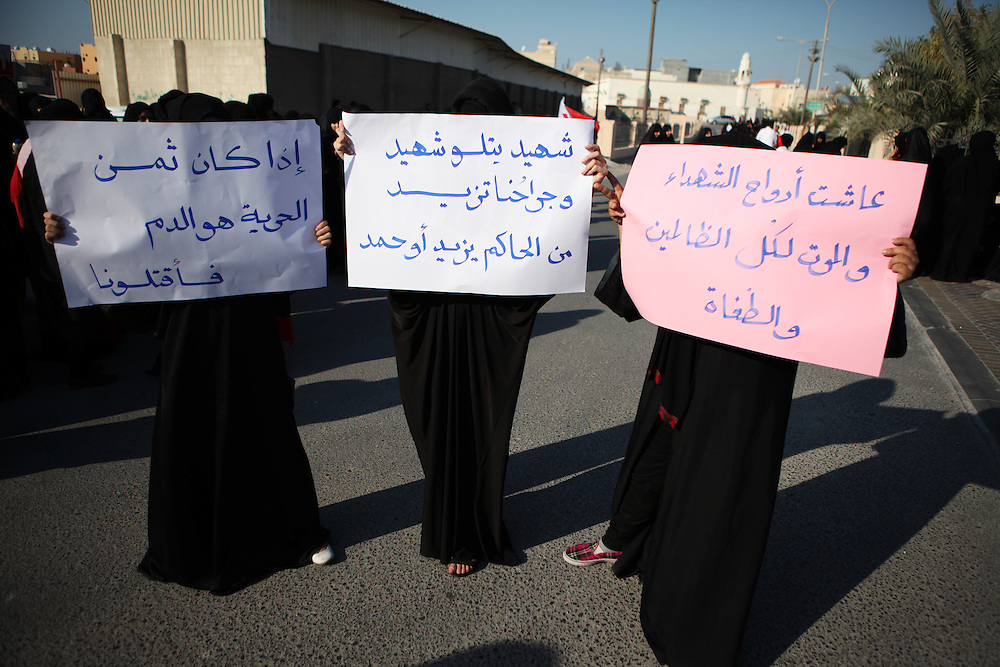 Abdulnabi Kadhem was struck in his car by a speeding police Land Cruiser early in the morning of November 25. His family said that he was pursued because he wrapped his head in a scarf and was mistaken for a protester. Thousands gathered for his funeral, which was immediately followed by tear-gas fired by police on mourners.