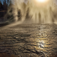 Yellowstone Geysir at night, Wyoming,USA