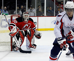 December 7, 2007; Newark, NJ, USA;  New Jersey Devils goalie Martin Brodeur (30) watches Washington Capitals left wing Alexander Ovechkin (8) during the first period at the Prudential Center in Newark, NJ.