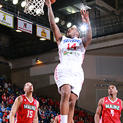 Delaware 87ers Guard SEAN KILPATRICK (14) drives towards the basket as Maine Red Claws Forward COTY CLARKE (4) looks on in the second half of a NBA D-league regular season basketball game between the Delaware 87ers and the Maine Red Claws Friday, Feb. 19, 2016 at The Bob Carpenter Sports Convocation Center in Newark, DEL.