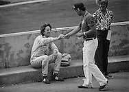 Italian Formula 1 Rookie Riccardo Paletti crashed in his  Osella when the right rear drive shaft broke over a bump during practice for the 1982 Detroit Grand Prix. <br />