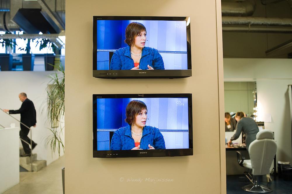 Meyrem Almaci live during a local tv debate a week before the elections in Antwerpen. Belgium, 2012
