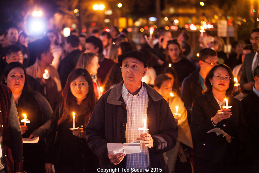 Hundreds of Angelenos hold a candle light vigil for the victims of the 11/13 Paris terrorist attacks. The vigil was held at LA City Hall and included remarks by Mayor Garrett and the LA's General Counsel of France.